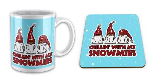 Set of Chillin' With My Snowmies Funny Christmas Mug w/ Coaster